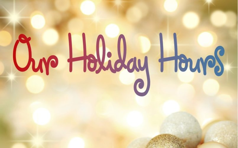 Holiday Hours – December 2017